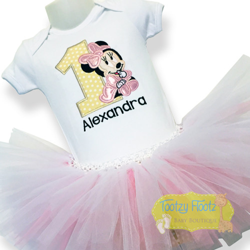 Minnie Mouse Inspired Birthday Set (Beige Number / Baby Pink Minnie)