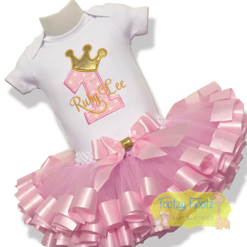 Princess Number - 3 spoke crown & Ribbon Trim Tutu Birthday Set