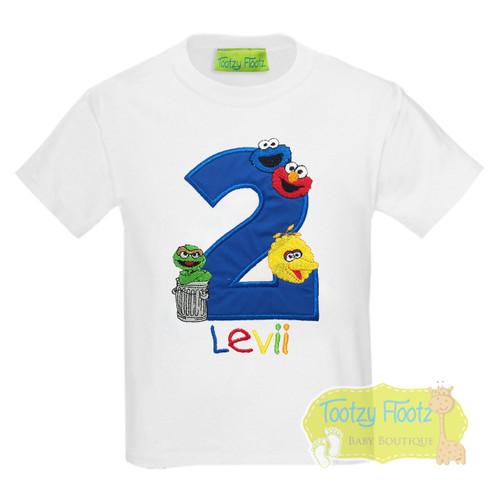 Sesame Street (4 characters) Inspired Birthday TSHIRT