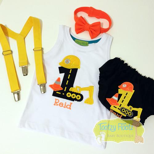Cake Smash 4 Piece Set - Construction Themed <Singlet, Neon Orange Bow Tie, Black Nappy Cover, Yellow Suspenders>