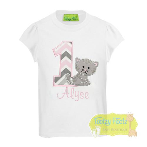 Kitten Themed Birthday (Baby Pink / Grey Chevron Number)