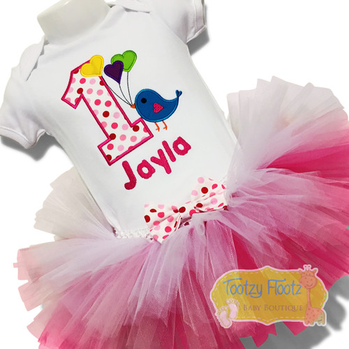 Bird Themed with Pink Ombre Tutu Birthday Set