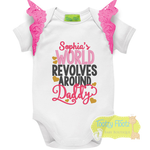 Fathers Day - My World Revolves Around Daddy with Hot Pink Flutters