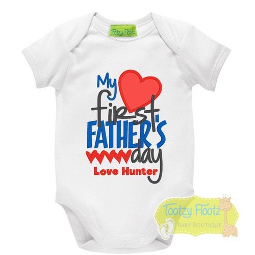 Fathers Day - My First Fathers Day (Hearts) Blue, Red, Black