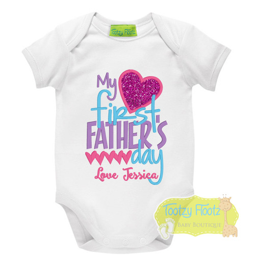 Fathers Day - My First Fathers Day (Hearts) Hot Pink, Purple, Aqua