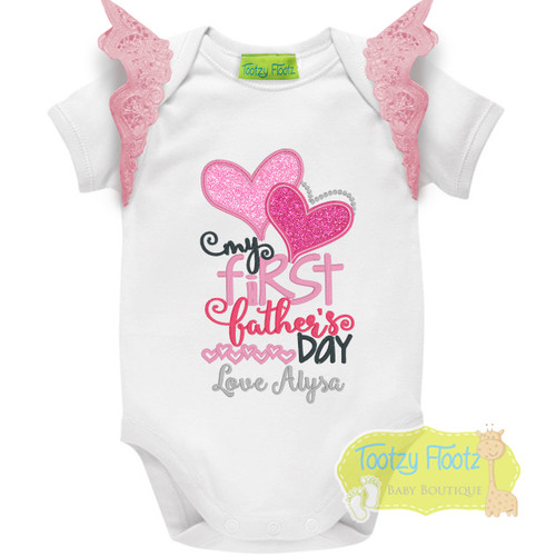 Fathers Day - My First Fathers Day (Double Hearts) with Baby Pink Flutters