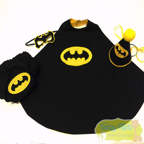 Reserved for Mandy - Batman Inspired 4 Piece Cake Smash Set [CAPE, NAPPY COVER, HAT, MASK]