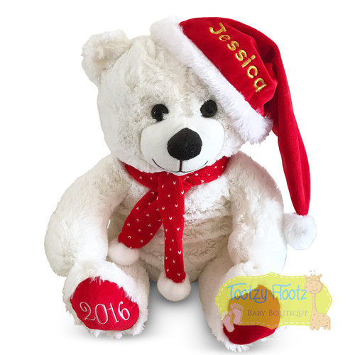 Personalised Christmas Teddy - White