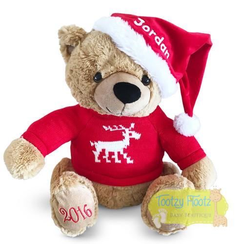 Personalised Christmas Teddy - Caramel