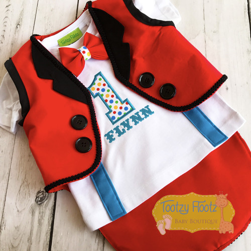 Circus Themed Cake Smash Birthday Set (Long Tailed Vest, Top with sewn in suspenders & Bow Tie)