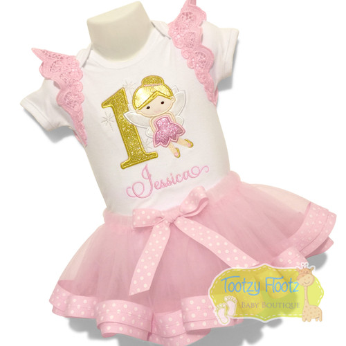 Fairy Themed Birthday Set - Featuring our ribbon trim tutu and flutter wings