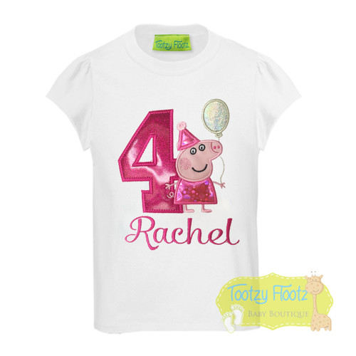 Peppa Pig (Holding Balloon) Inspired Birthday (Hot Pink Number)