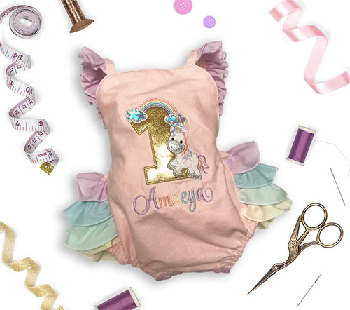 Rainbow & Unicorn Pastel Ruffle Romper