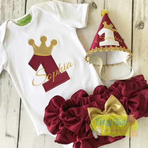 Burgundy & Gold Themed Birthday / Cake Smash Set (Onesie, Ruffled Nappy Cover & Hat)