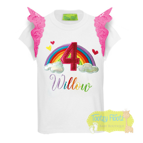 Rainbow Themed with Hearts Birthday