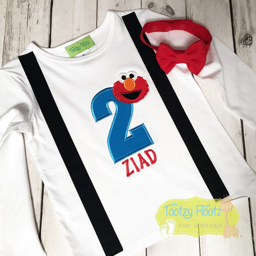 Elmo Inspired Birthday (Black Sewn on faux suspenders + Red Bow Tie)