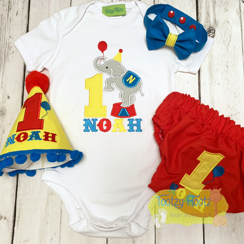 Circus Carnival Elephant Themed Birthday / Cake Smash Set (Yellow Onesie, Nappy Cover, Bow Tie & Hat)