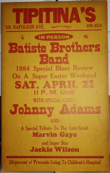 BATISTE BROTHERS BAND in person TIPITINA'S CONCERT POSTER OG CARD STOCK