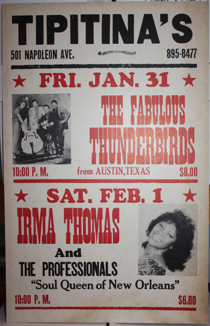 FABULOUS THUNDERBIRDS / IRMA THOMAS in person at TIPITINA'S Concert Poster OG CARD STOCK