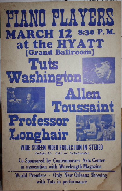 PIANO PLAYERS (Tuts Washington, A. Toussaint & Professor Longhair) at HYATT Original CONCERT POSTER