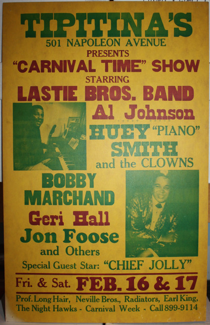 """CARNIVAL TIME"" SHOW at TIPTINA'S starring LASTIE BROS. BAND, Al Johnson, HUEY SMITH, BOBBBY MARCHAND, Geri Hall & JON FOOSE"