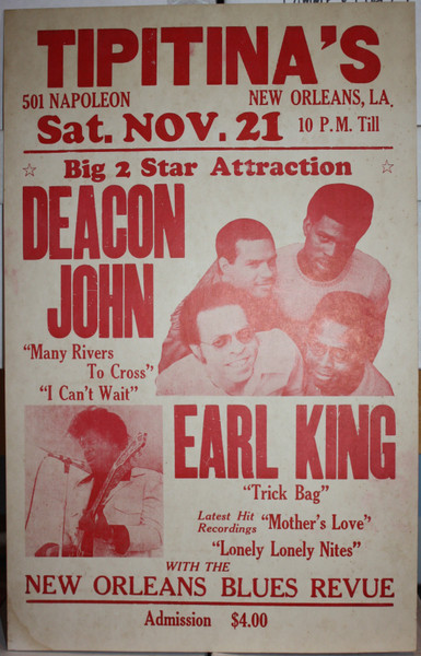 DEACON JOHN w/ EARL KING New Orleans Blues Revue at TIPITINA'S Concert Poster