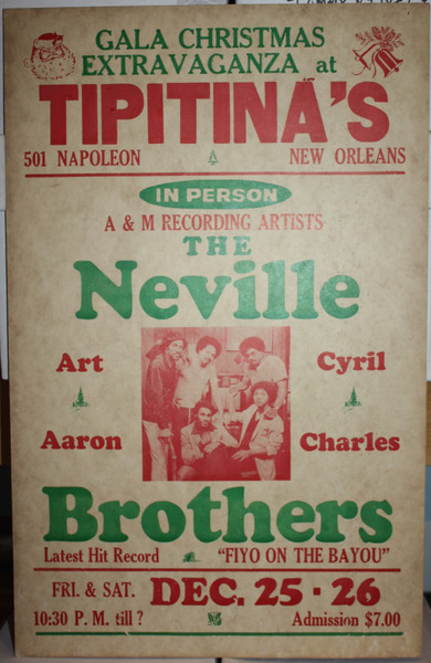 NEVILLE BROTHERS in person at TIPITINA'S Gala Christmas Extravaganza CONCERT POSTER