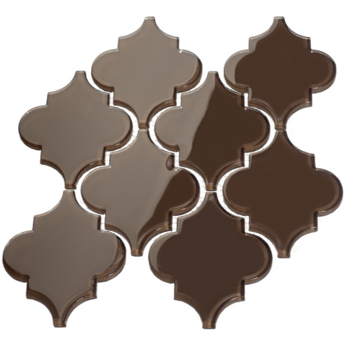 Classic Brown Arabesque Glass Tile