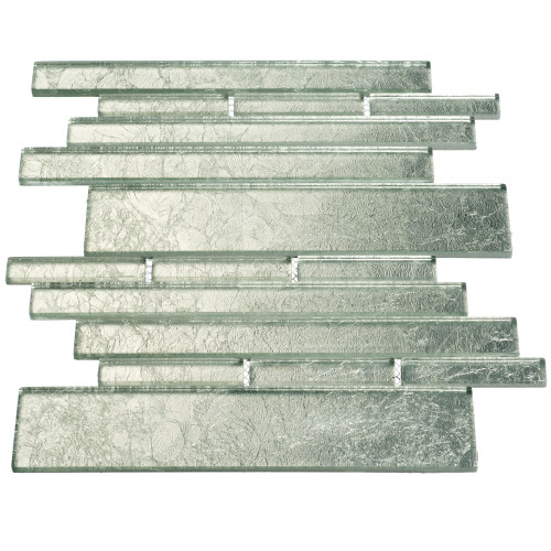 Club Collection Glass Tile, Silver Foil