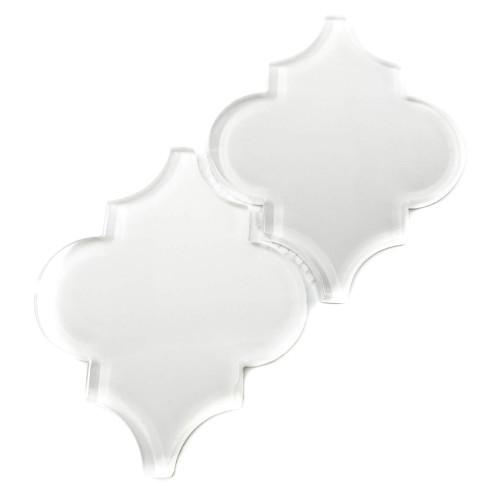 Glass Arabesque Tile in Bright White (7 Sq. Ft.)