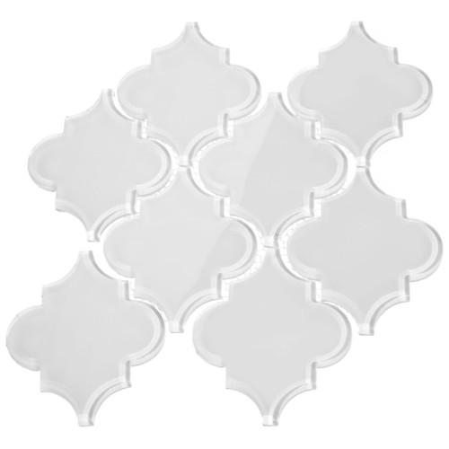 Bright White Arabesque Glass Tile