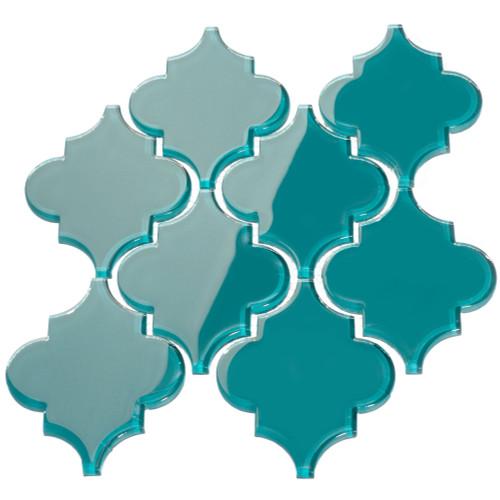 Dark Teal Arabesque Glass Tile