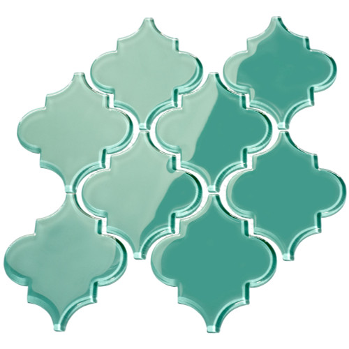 Teal Arabesque Glass Tile