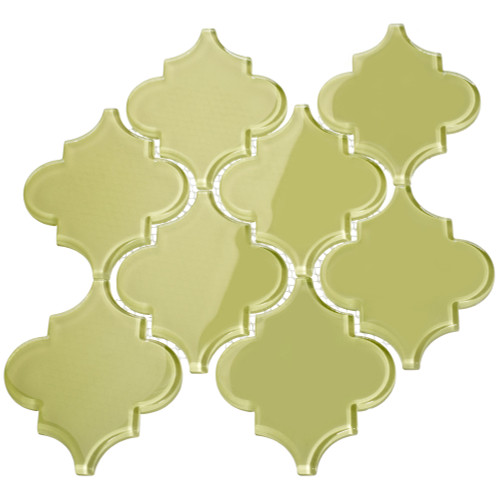 Light Olive Arabesque Glass Tile