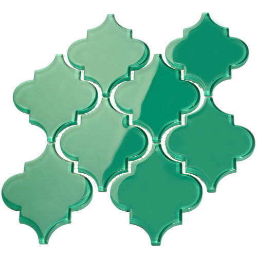 Emerald Green Arabesque Glass Tile