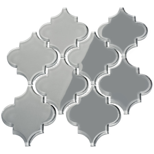 True Gray Arabesque Glass Tile