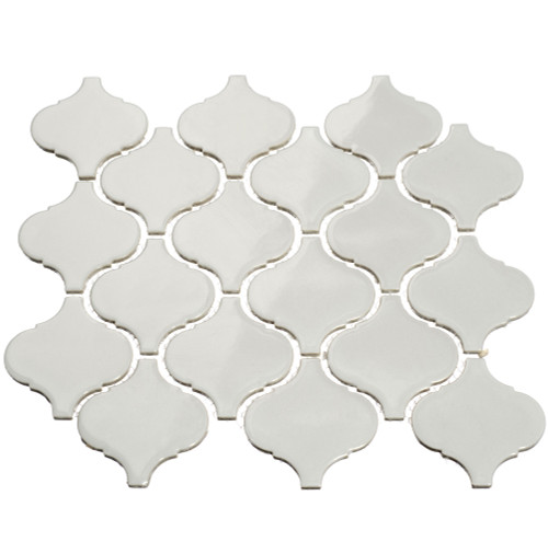 Giorbello Porcelain Arabesque Tile, Light Gray