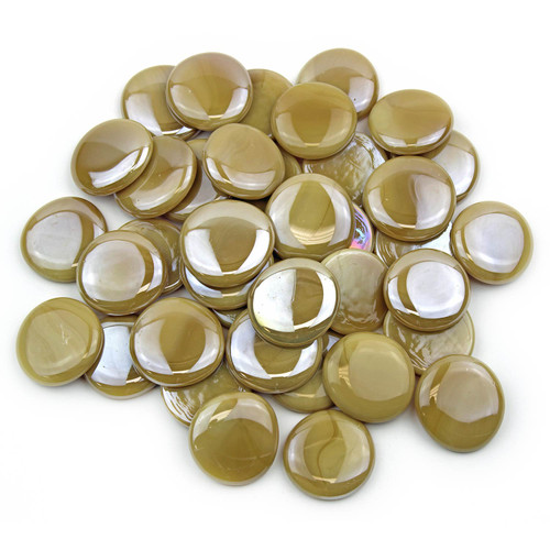 Large Glass Gems - Latte Opaque Luster