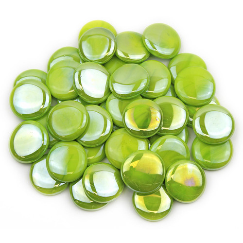 Large Glass Gems - Lime Green Opaque Luster