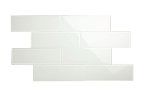 """Glass Subway Tile in Bright White - 4"""" x 12"""" (5 Sq. Ft.)"""