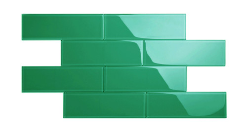 """Glass Subway Tile in Emerald Green - 4"""" x 12"""" (5 Sq. Ft.)"""