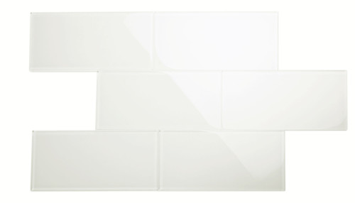 """Glass Subway Tile in Bright White - 6"""" x 12"""" (5 Sq. Ft.)"""