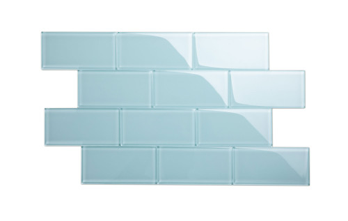 """Glass Subway Tile in Morning Sky Blue - 3"""" x 6"""" (5 Sq. Ft.)"""