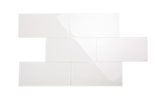 """Glass Subway Tile in Alabaster - 6"""" x 12"""" (5 Sq. Ft.)"""