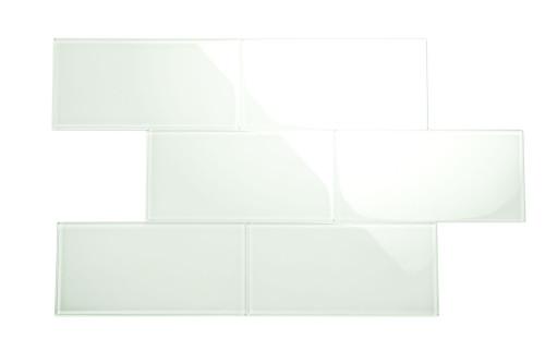 "Glass Subway Tile in Dover White - 6"" x 12"" (5 Sq. Ft.)"