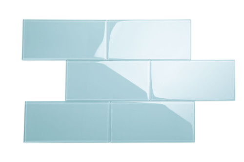 """Glass Subway Tile in Morning Sky Blue - 6"""" x 12"""" (5 Sq. Ft.)"""