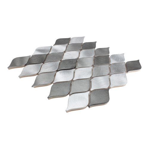 Side Angle View of Marina Silver Teardrop Tile