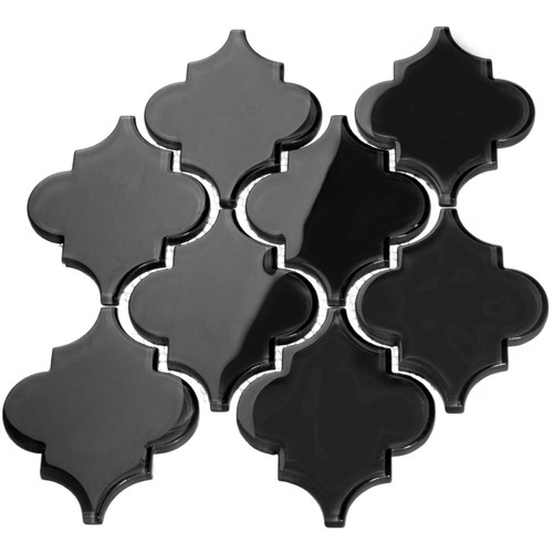Black Arabesque Glass Tile