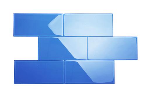 "Glass Subway Tile in Mediterranean Blue - 6"" x 12"" (5 Sq. Ft.)"
