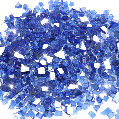 "Cobalt Blue 1/2"" Tempered Fire Glass, Reflective, 20 lb."